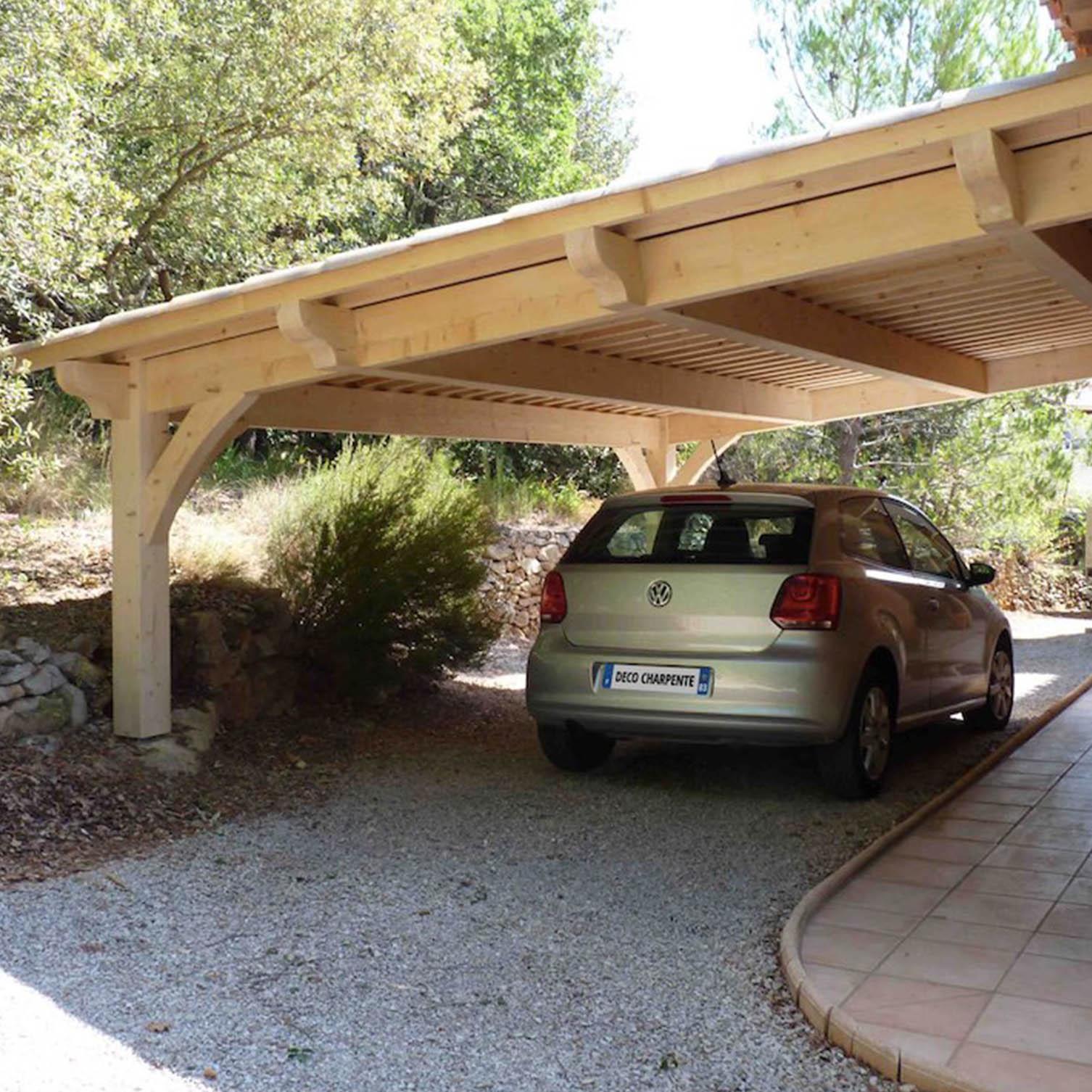 abri voiture adossé toit plat